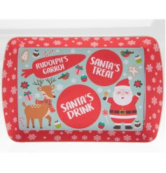 An adorable festive tray perfect to arrange your treats for Santa and Rudolph