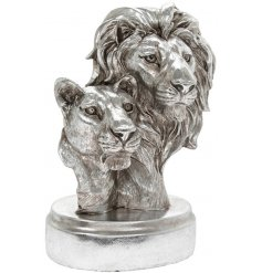Silver Art Lion Bust   Bring a statement look to any sideboard or unit in the home with this beautifully finished Silver