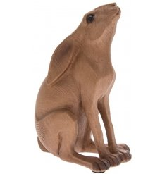 A beautiful natural wooden hare in a gazing pose