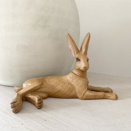 Animal Kingdom Wooden Lounging Hare