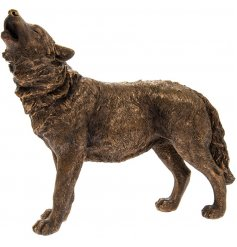 Add a Country Charm inspired edge to any home space or display with this beautifully decorated Bronzed Wolf Figure