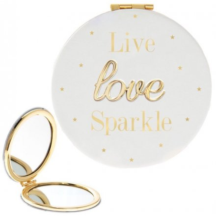 'Live Love Sparkle' Oh So Compact Mirror