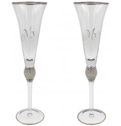 A charmingly elegant set of Flute Glasses, each set with a scripted text, diamonte feature and silver trimming
