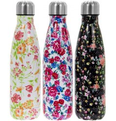 Bring a trendy floral touch to any morning commute or Gym Sesh with this fabulous assortment of metal water bottles