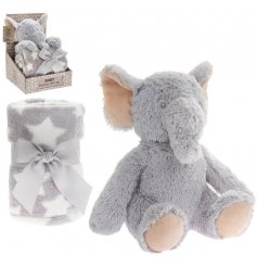 An adorably huggable and snuggable elephant soft toy, complete with a matching printed blankie