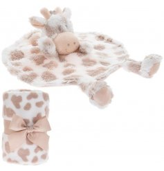 An adorably huggable and snuggable Giraffe shaped comforter toy, complete with a cream and mink printed blankie