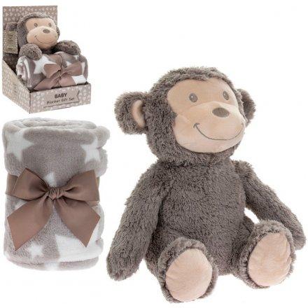 Monkey Soft Toy & Blankie Set