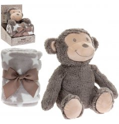 this adorable Monkey themed Comfort Toy and printed Blanket Set will be sure to make a wonderful gift idea