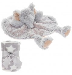 An adorably huggable and snuggable elephant shaped comforter toy, complete with a grey and white star printed blankie