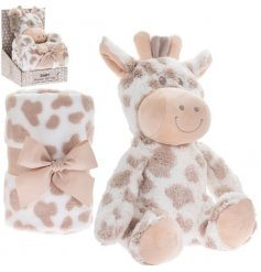 An adorably huggable and snuggable giraffe soft toy, complete with a mink and cream printed blankie