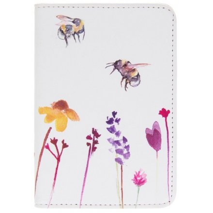 A smooth white fabric passport cover with a beautifully printed Busy Bee Garden themed decal
