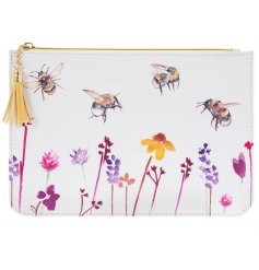 A smooth white fabric zip up bag with a beautifully printed Busy Bee Garden themed decal