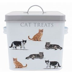 Covered with a cute cat themed decal, this grey trimmed treats box will be sure to place perfectly in any kitchen