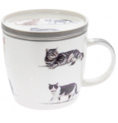 A smooth finished Fine China Mug and Coaster perfectly set with a grey trim tone and added cat printed decals