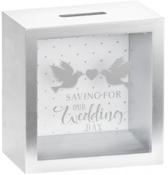 A sleek and simple square wooden money box featuring a scripted text decal and love bird print