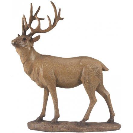 Large Animal Kingdom Wooden Stag Figure