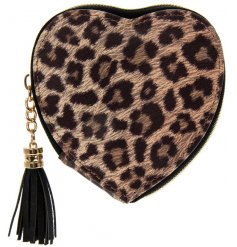 A stylish heart shaped purse with a tassel zip. A popular item from our new wild side range.