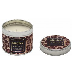 A tin candle with a fashionable leopard print from the Wild Side range