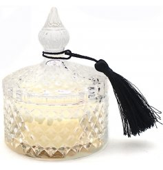 set with a clear diamond ridge glass pot complete with a matching lid and black tassel decal