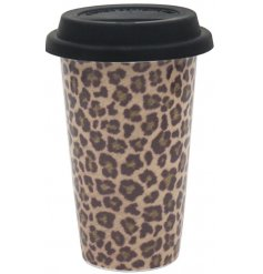 A reusable travel mug with a fashionable leopard print from the Wild Side range