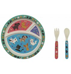 Covered with cute cats and dogs, this fun themed bamboo based plate, fork and spoon set will be sure to help little ones