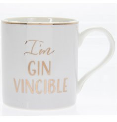 "A charming smooth white toned mug set with a scripted ""I'm Gin Vincible"" text and added gold decal"