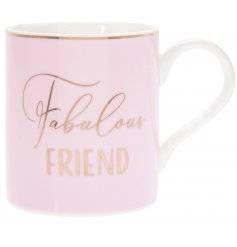 "A charming Pink toned mug set with a scripted ""Fabulous Friend"" text and added gold decal"