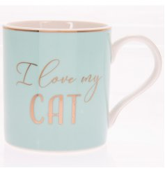 "I Love My Cat Blue Mug   A charming Blue toned mug set with a scripted ""I love my cat"" text and added gold decal"