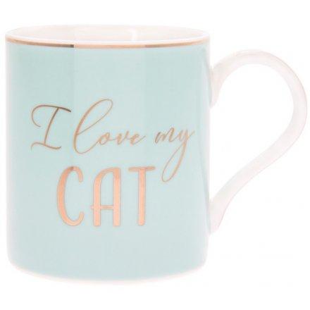 I Love My Cat Blue Mug