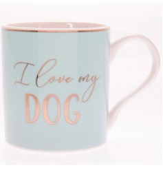 "A charming Blue toned mug set with a scripted ""I love my dog"" text and added gold decal"