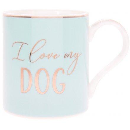 I Love My Dog Blue Mug