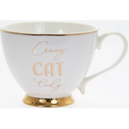 Gold Footed Mug - Cat Lady