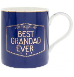 Part of the stylish and sleek 'Gents Society' range is this blue toned Fine China Mug