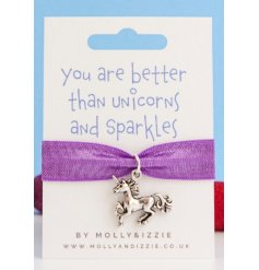 this purple bracelet with an added silver unicorn charm will be sure to make a cute gift idea