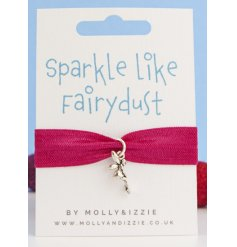 this pink bracelet with an added silver fairy charm will be sure to make a cute gift idea for close friends