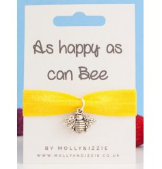 this stretchy yellow bracelet with an added silver bee charm will be sure to make a cute gift idea for close friends