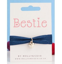 this stretchy blue bracelet with an added silver heart charm will be sure to make a cute gift idea for close friends