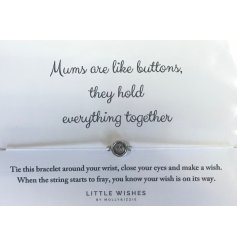 this thin threaded bracelet with an added button charm will make a simply sweet gift idea for any darling mother needing