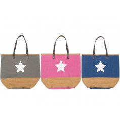 An assortment of 3 Raffia bags with an added block colour and star decal