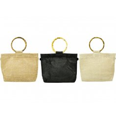 A chic and stylish assortment of Raffia woven handbags featuring a rustic wooden hoop handle
