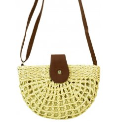 A stylishly chic shoulder bag with a woven Raffia finish and added faux leather feature