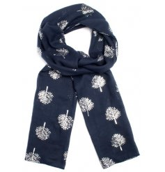 A beautiful mix of navy toned fabric scarves each complete with its own silver foiled leaf decal