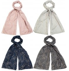 Assorted by their delicate colours, these fabric scarves are each decorated with a silver foil pattern