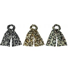 A trendy mix of Leopard inspired fabric scarves, assorted by their subtle colour differences