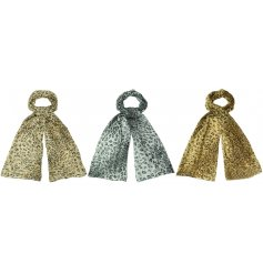 A trendy mix of Leopard inspired fabric scarves, assorted by their subtle colour differences and added glitter