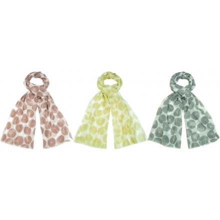 A stylish mix of soft fabric scarves each decorated with a colourful geometric print