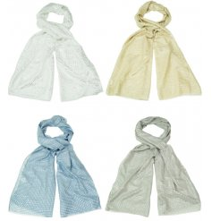 A fabulous mix of soft llight scarves each with added silver foil decals and features