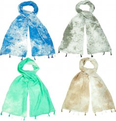 A colourful assortment of trendy Tie-Dye inspired scarves