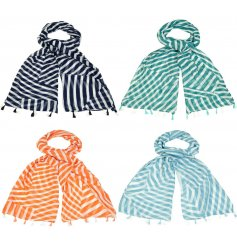 A charming mix of soft fabric scarves each decorated with a colourful stripe decal and tassels