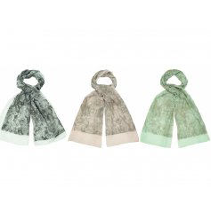 A mix of 3 assorted toned scarves each featuring a Reptile inspired print and added glitter finish